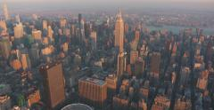 Aerial of Midtown Manhattan and The Empire State Building - Golden Hour Stock Footage