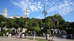 Plaza de la independencia and the Mérida Cathedral Stock Footage