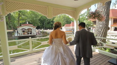 Young wedding couple walking together at park Stock Footage