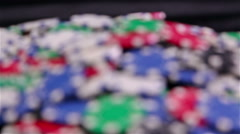Focusing a pile with pocker chips Stock Footage