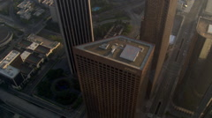Tight orbit of downtown Los Angeles buildings. Shot in 2008. Stock Footage