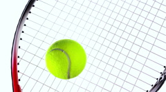 Globe ball ralling towards a tennis ball on a tennis racket, white background Stock Footage