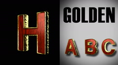 Rendered with alpha matted mode loop golden and red wood letter h Stock Footage
