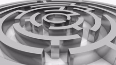 4k rotating silver metal maze,abstract business & tech background. Stock Footage