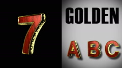 Rendered with alpha matted mode loop golden and red wood letter 7 Stock Footage