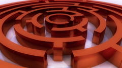 4k rotating red metal maze,abstract business & tech background. Stock Footage