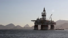 Oil platform in Guanabara bay with Rio de Janeiro in the background Stock Footage