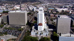 Flight past Los Angeles City Hall. Shot in 2008. Stock Footage