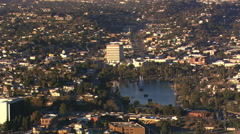 Wide view of Los Angeles neighborhood with lake. Shot in 2008. Stock Footage