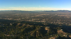 Wide aerial view over San Fernando Valley, California. Shot in 2008. Stock Footage