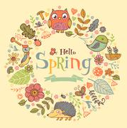 Hello Spring banner in doodle style - stock illustration