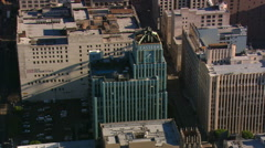 Orbiting theater district and Orpheum building in Los Angeles. Shot in 2008. - stock footage