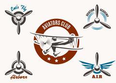 Aviation Emblem Set - stock illustration