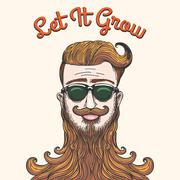 Hipster with huge beard - stock illustration