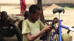 bike mechanic checking system failure - stock footage