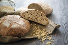 Artisan Sourdough Bread with sprouted buckwheat Stock Photos