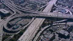 Wide aerial view of Los Angeles freeway interchange. Shot in 2008. Stock Footage