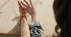 Young romantic caucasian couple excited nervous holding hands - stock footage