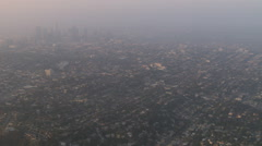 Aerial view of heavy smog over Los Angeles - stock footage