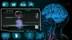 Brain - Monitor Analysis in System - blue 01 Stock Footage