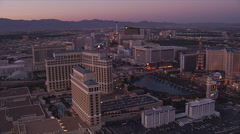 Evening flight from Boardwalk to Caesar's Palace in Las Vegas. Shot in 2005. Stock Footage