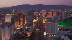 Flight crossing The Strip at  Excalibur in Las Vegas. Shot in 2005. Stock Footage