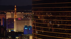 Night flight south behind east side casinos of Las Vegas. Shot in 2005. Stock Footage