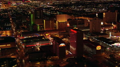 Night flight looking toward Las Vegas Strip from near Fremont Street. Shot in Stock Footage