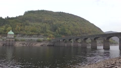 View of Foel tower and aqueduct, Elan Valley, Wales Stock Footage