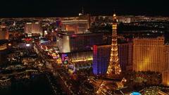 Night flight north up Las Vegas Boulevard. Shot in 2005. Stock Footage