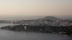 View of Niterói with Rio Niterói bridge in the background Stock Footage