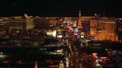 Flight north paralleling Las Vegas Boulevard; Bellagio water show. Shot in 2005. Stock Footage