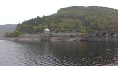 Garreg-Ddu reservoir with low water levels, Elan Valley, Wales Stock Footage