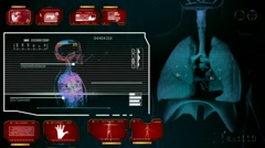Lungs  - Monitor Analysis in System - red 01 Stock Footage
