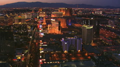 Slow northerly flight above The Strip in Las Vegas at dusk. Shot in 2008. Stock Footage
