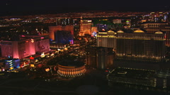 Orbiting casinos with wide view of glittering Las Vegas cityscape. Shot in 2008. - stock footage