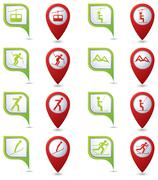 Winter sport icons set on green and red map pointers. - stock illustration