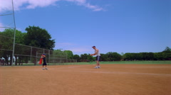 Son playing baseball with Dad in slow motion Stock Footage