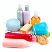 Set of toiletries for bathing Stock Photos