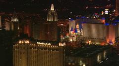 Close flight past New York New York in Las Vegas at night. Shot in 2008. - stock footage