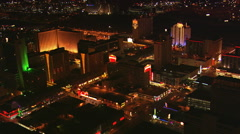 Orbiting casinos near Fremont Street in downtown Las Vegas at night. Shot in - stock footage