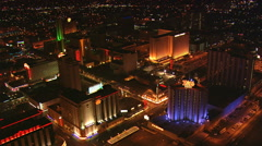 Orbiting northern section of Las Vegas with wide view of cityscape at night. Stock Footage