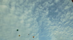 Hot air balloons in the blue sky aerostats - stock footage