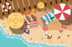 Summer beach in flat design, sea side and beach items, vector illustration - stock illustration