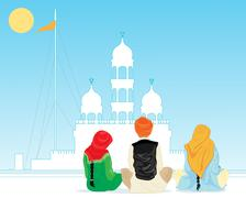 prayer in punjab - stock illustration