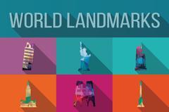 World landmarks, famous buildings, Europe, America, Asia, vector illustration - stock illustration