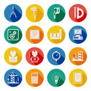 Engineer Flat Round Icons Set Shadow Stock Illustration