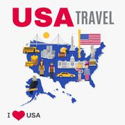 World Travel Agency USA Culture Flat Poster Stock Illustration