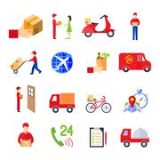 Flat Delivery Icon Set - stock illustration