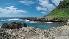 Scenic Rocky Hawaiian Sea Cove Stock Footage